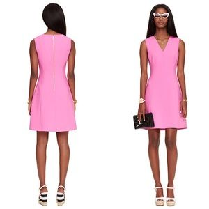 Kate Spade Pink Crepe A-Line V-Neck Dress